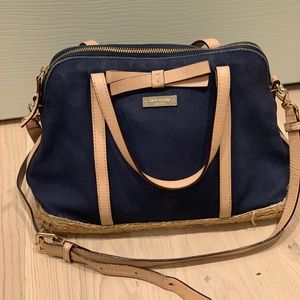 Well loved Navy fabric and straw Kate spade bag